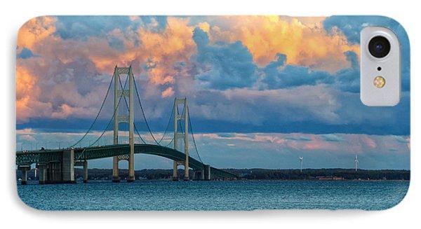 Sunset On Mackinac Bridge IPhone Case by Rachel Cohen