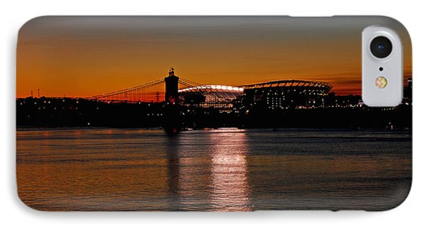 Sunset On Paul Brown Stadium IPhone Case by Mary Carol Story
