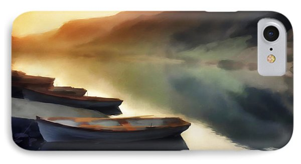 Sunset On The Lake Phone Case by David Ridley