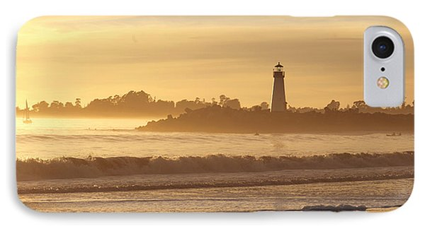IPhone Case featuring the photograph Sunset On The Lighthouse In Santa Cruz Harbor by Artist and Photographer Laura Wrede
