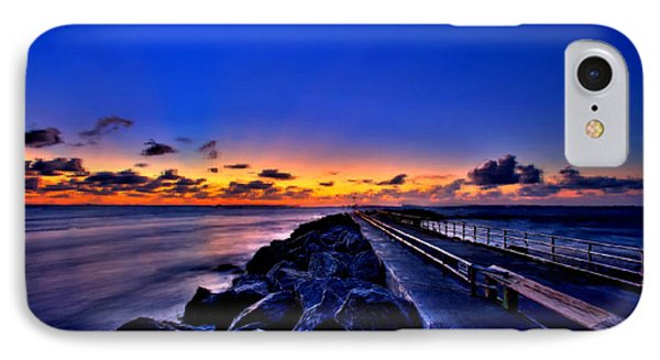 IPhone Case featuring the painting Sunrise On The Pier by Bruce Nutting
