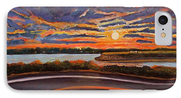 IPhone Case featuring the painting Sunset On The Road To Woods Hole by Rita Brown