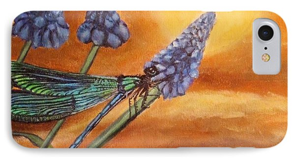 IPhone Case featuring the painting Summer Sunset Over A Dragonfly by Kimberlee Baxter