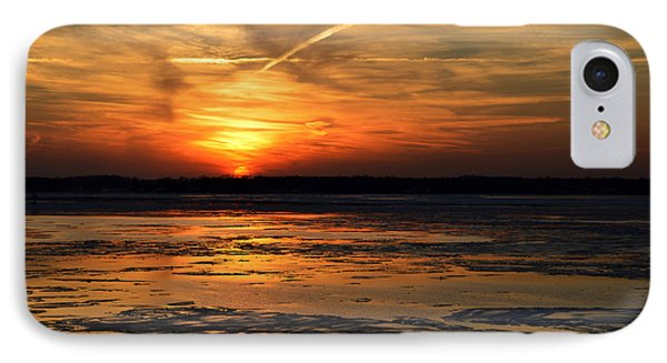 IPhone Case featuring the photograph Sunset Over A Frozen Chesapeake Bay by Bill Swartwout