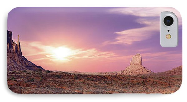 Sunset Over Mountain Valley Phone Case by Aged Pixel