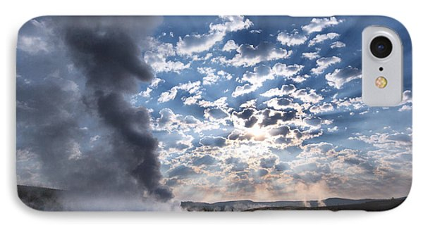 Sunset Over Old Faithful - Horizontal IPhone Case by Andres Leon