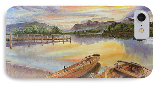 Sunset Over Serenity Lake IPhone Case by Mary Ellen Anderson