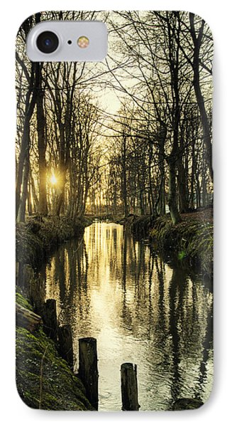 Sunset Over Stream IPhone Case by Mike Santis