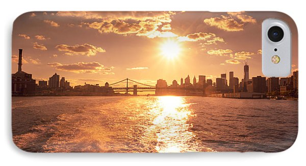 Sunset Over The New York City Skyline Phone Case by Vivienne Gucwa
