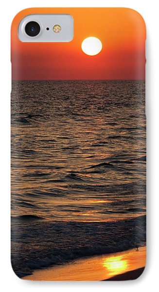 Sunset Over The Ocean And A Beach IPhone Case by Jim Edds