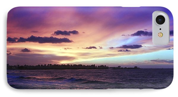 Sunset Over Town And Sea Water IPhone Case by Mohamed Elkhamisy