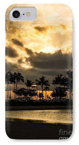 IPhone Case featuring the photograph Sunset Over Waikiki by Angela DeFrias