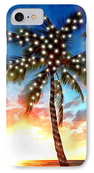 Sunset Palm Tree With Xmas Lights Stamp IPhone Case by Elaine Plesser