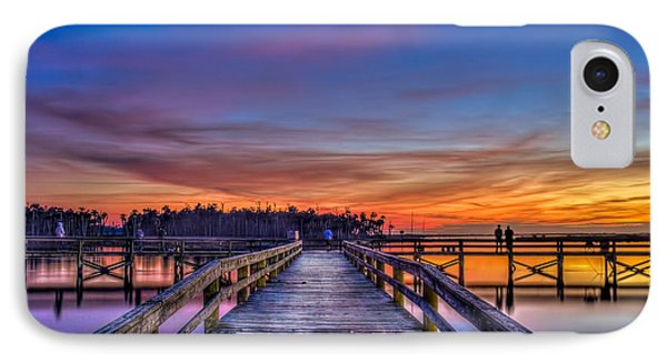 Sunset Pier Fishing IPhone Case by Marvin Spates