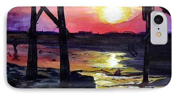 IPhone Case featuring the painting Sunset Pier by Lil Taylor