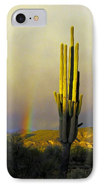 IPhone Case featuring the photograph Sunset Rainbow Cactus by John Haldane