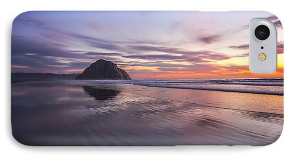 Sunset Reflections At Morro Bay Beach Rock Fine Art Photography Print IPhone Case