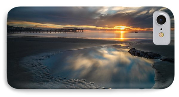 Sunset Reflections In San Diego Landscape Version IPhone Case by Larry Marshall