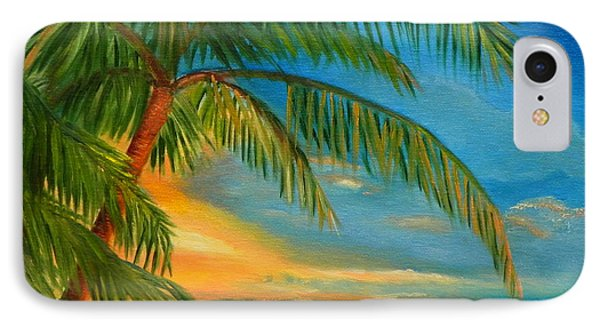 IPhone Case featuring the painting Sunset Reflections - Key West Sunset And Palm Trees by Shelia Kempf