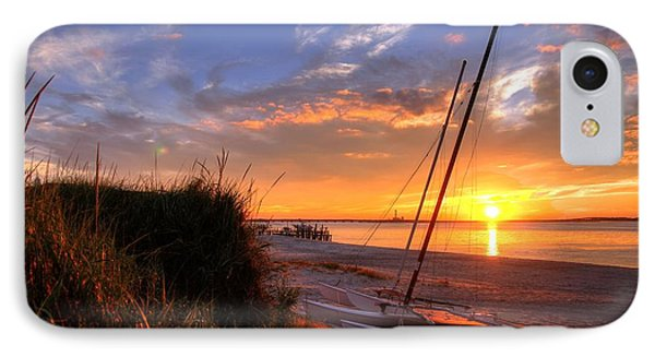 Sunset Sailboat IPhone Case by John Loreaux