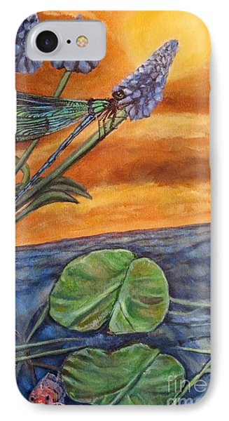 IPhone Case featuring the painting Sunset Setting Over A Dragonfly On A Water Lily Pond by Kimberlee Baxter