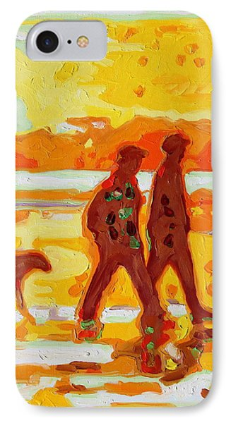 Sunset Silhouette Carmel Beach With Dog Phone Case by Thomas Bertram POOLE