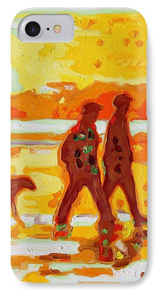 IPhone Case featuring the painting Sunset Silhouette Carmel Beach With Dog by Thomas Bertram POOLE