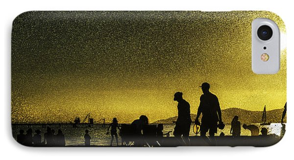IPhone Case featuring the photograph Sunset Silhouette Of People At The Beach by Peter v Quenter