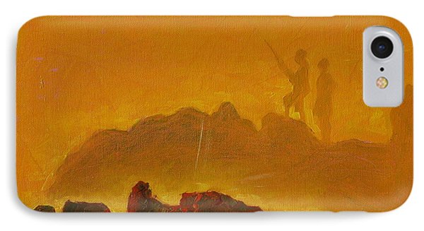 IPhone Case featuring the painting Sunset Surf Fishermen by Thomas Bertram POOLE