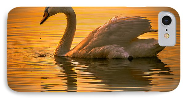 IPhone Case featuring the photograph Sunset Swan by Brian Stevens