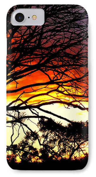 Sunset Tree Silhouette Phone Case by The Creative Minds Art and Photography