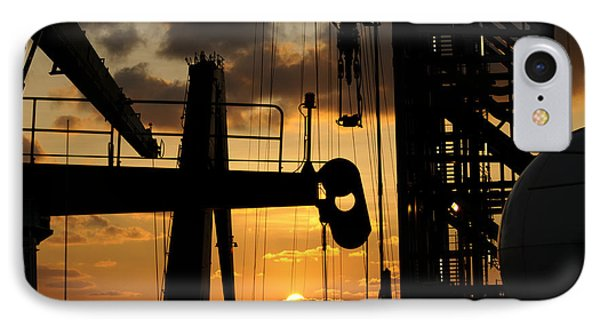 Sunset Viewed From An Oil Rig IPhone Case