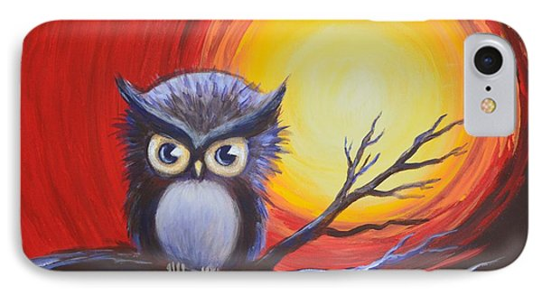 Sunset Vortex With Owl IPhone Case by Agata Lindquist