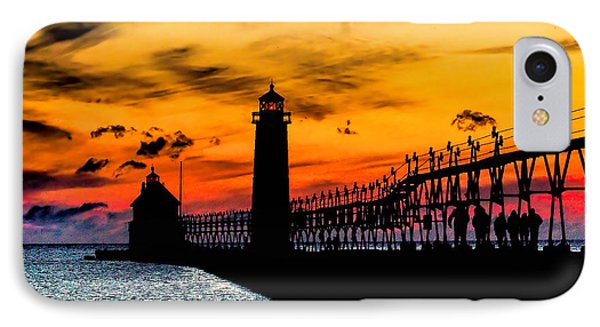 Sunset Walking On Grand Haven Pier IPhone Case by Nick Zelinsky