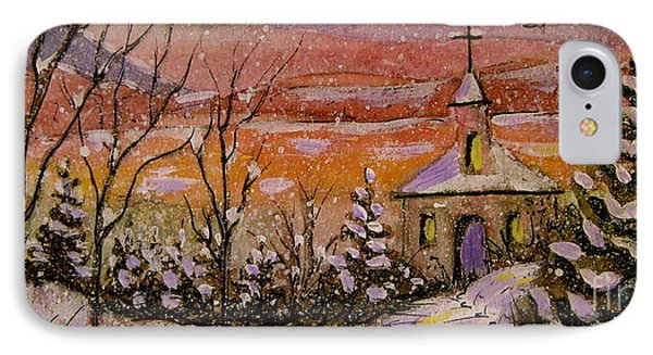 IPhone Case featuring the painting Sunset Winter Church by Gretchen Allen