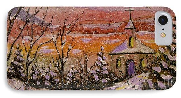 Sunset Winter Church IPhone Case by Gretchen Allen