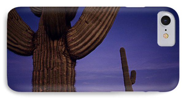 Sunset With Moonise Behind Saguaro Cactus In Desert Southwest Ar IPhone Case