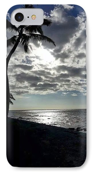 Sunset With Palm Trees IPhone Case by Pamela Walton