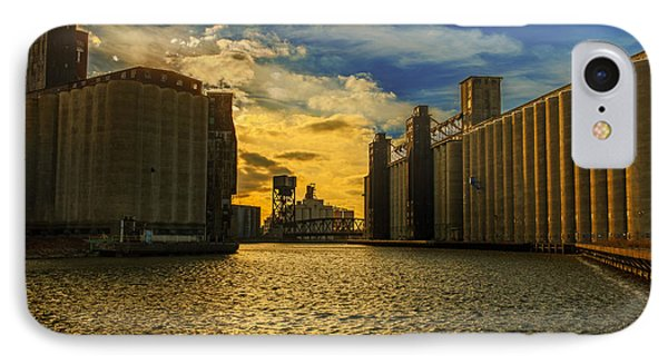 Sunsets On A River Through An Industrial Canyon IPhone Case