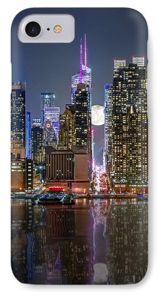 Super Moon At 42nd Street  IPhone Case by Eduard Moldoveanu