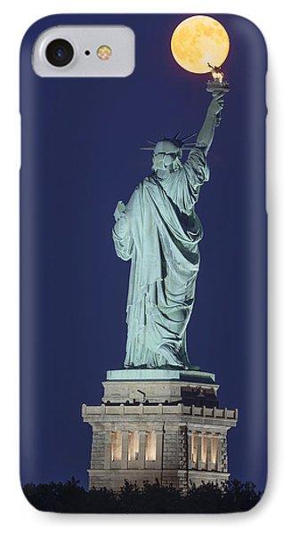 Supermoon Illuminates New York City IPhone Case by Susan Candelario