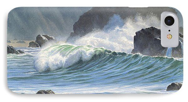 Shore iPhone 7 Case - Surf And Rocks-harris Beach by Paul Krapf