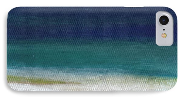 Surf And Sky- Abstract Beach Painting Phone Case by Linda Woods