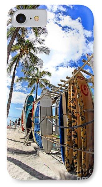 Surf And Sun Waikiki IPhone Case by DJ Florek