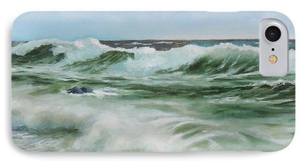 IPhone Case featuring the painting Surf At Castlerock by Barry Williamson