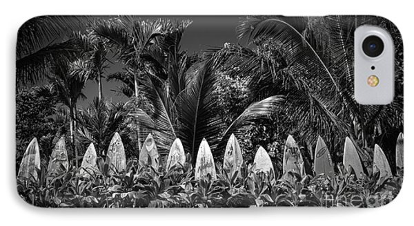 Surf Board Fence Maui Hawaii Black And White IPhone Case by Edward Fielding