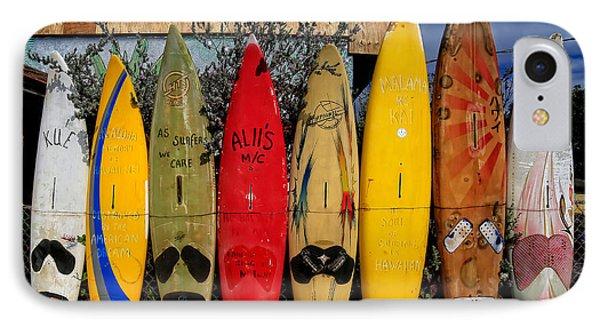 Surf Board Fence Maui Hawaii Phone Case by Edward Fielding