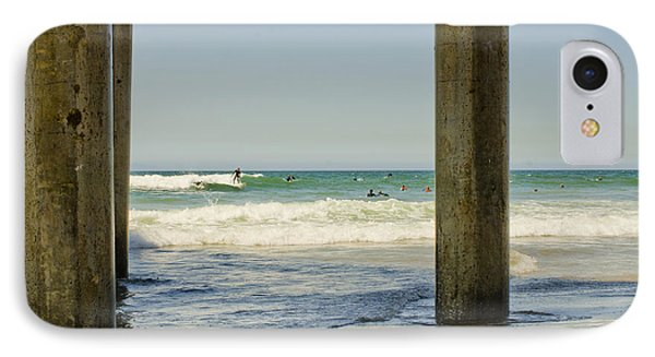 Surf Framed Under The Pier IPhone Case by MaryJane Armstrong