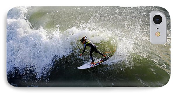 Surfer Boy Riding A Wave Phone Case by Catherine Sherman