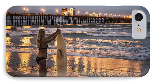 IPhone Case featuring the photograph Surfer Girl At Oceanside Pier 1 by Lee Kirchhevel